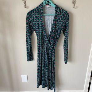 Boden green long sleeve wrap dress